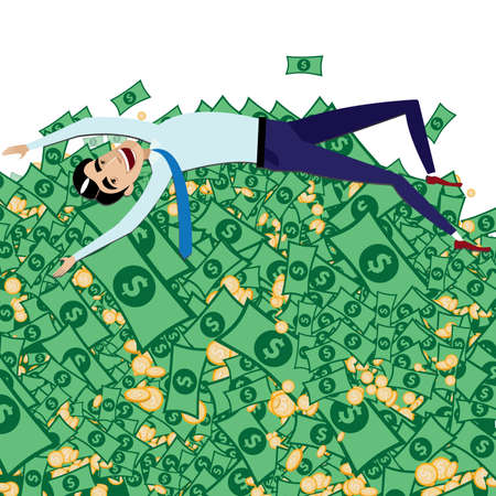 atop: Vector illustration on white background featuring happy businessman lying on big pail of money Illustration
