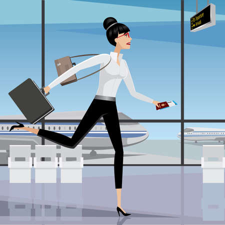 businesslike: Mujer de negocios tarde para que el avi�n Correr en la terminal del aeropuerto