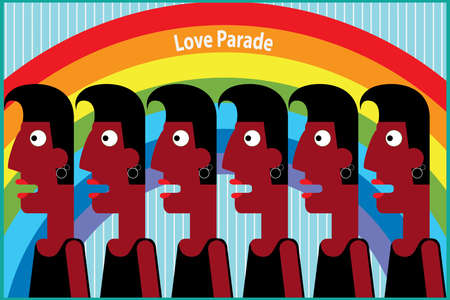 lesbo: Vector illustration on color background featuring love parade