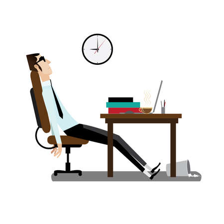 tired man: Vector illustration on white background featuring evening, tired office man sitting at working desk with coffee