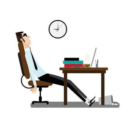 Schreibtisch büro clipart  Vektor-Illustration Auf Weißem Hintergrund Mit Morgen, Büro Mann ...