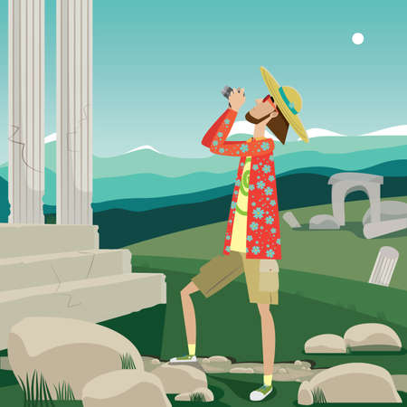 voyager: Vector illustration featuring excursionist photographs the ancient sights in open terrain Illustration