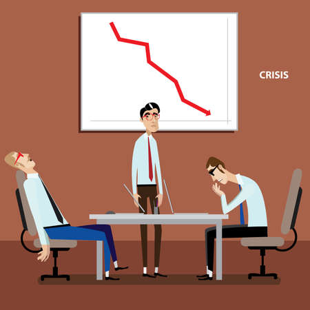 Vector illustration on color background featuring businessmen on meeting with negative graph