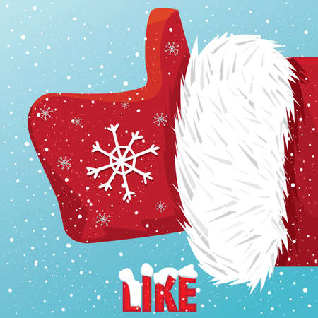 like it: Vector icon thumbs up Santa Claus like it