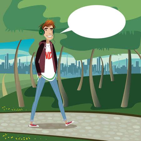 dia soleado: Adolescente caminando en el parque de la ciudad, escuchando una música y diciendo burbuja Sonreír Vectores