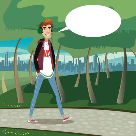 Smiling teenager walking at city park, listening a music and saying bubble