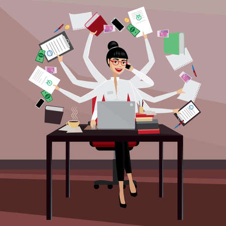 work on computer: Multitasking business woman working in the workplace Illustration