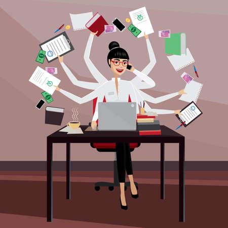 Multitasking zakenvrouw werken op de werkplek