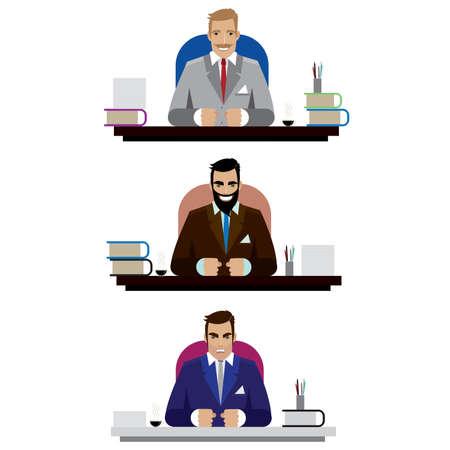 3 つのボス、怒っている善と悪、テーブルに座ってのセットを備えた白い背景のベクトル図