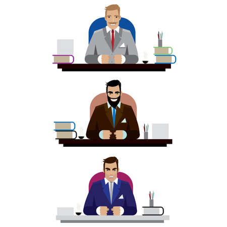 Vector illustration on white background featuring set of three bosses, good, angry and bad, sitting at the tables