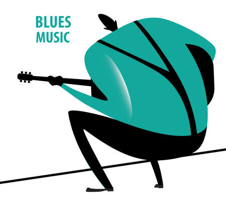 sits: Man sits and plays blues on guitar Illustration