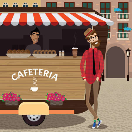 shop assistant: Hipster taking coffee to go from coffee stall at old city center