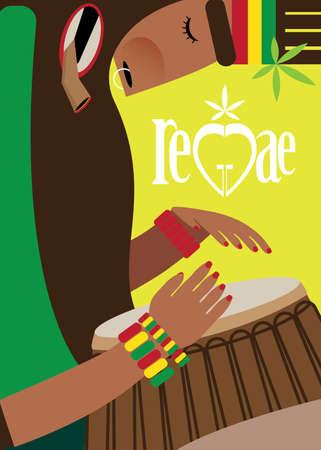 reggae: Vector illustration sur fond de couleur avec rasta, jouant du reggae sur le tambour