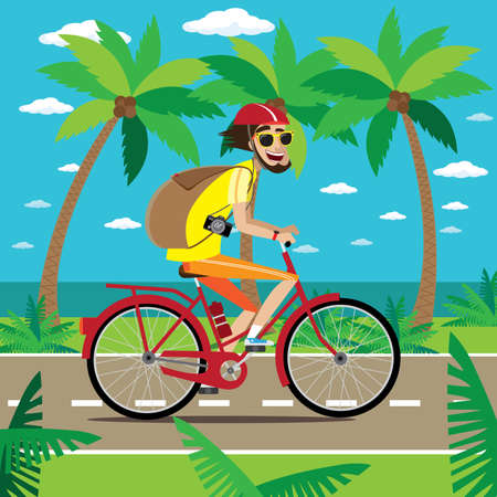 bicycler: Vector illustration on color background featuring bicycler is traveling on the road in the tropics with backpack and camera Illustration