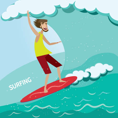 Vector illustration on color background featuring surfer on a surfboard on a wave