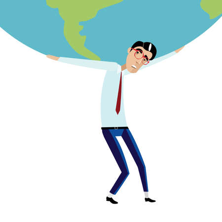 masculin: Vector illustration on white background featuring sad businessman with glasses and tie holding a heavy globe overhead