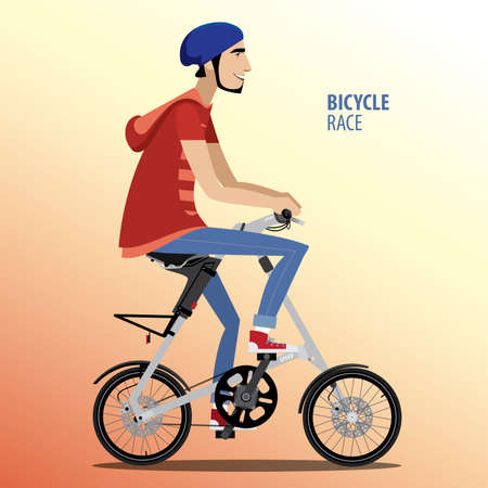 exercise bike: Vector illustration featuring young man rides on fashionable folding bike