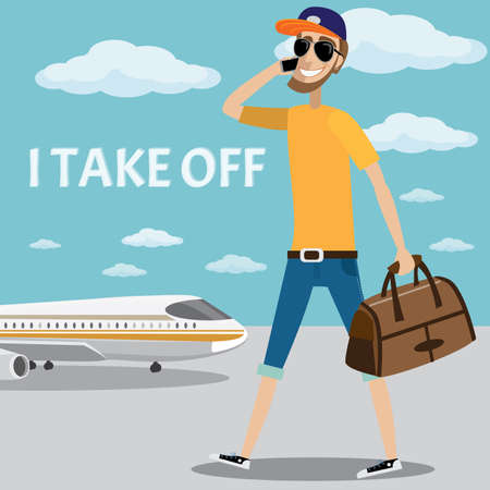 Vector illustration on sky background featuring man calling on the phone and sits in the plane  イラスト・ベクター素材