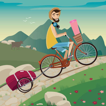Young backpacker on a bicycle in the cycling tour in the mountains side view nice landscape with animals on background