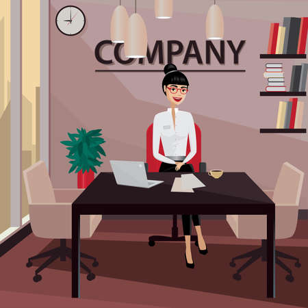 businesslike: Smiling business woman sitting in her private office and working Illustration