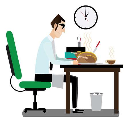 Vector illustratie op een witte achtergrond met zakenman eten op de werkplek