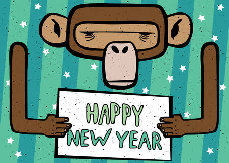 felicitation: Congratulations caricature Happy New Year 2016 monkey with cyan stripes