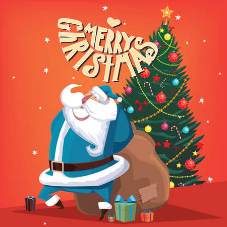 fervor: Greeting card Merry Christmas Santa Claus with gift bag and spruce Illustration
