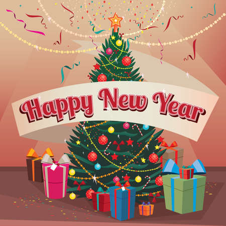 indoors: Congratulations Happy New Year Christmas tree and gift boxes indoors Illustration