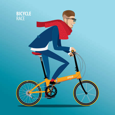 Fashionable man in blue suit rides on a detailed high quality folding bike
