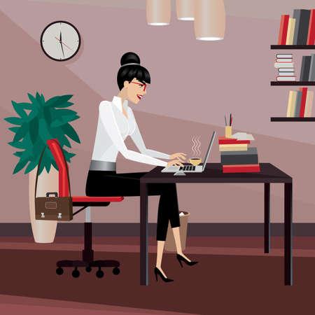 businesslike: Mujer de negocios que trabaja en la oficina, escribiendo en la computadora port�til | vista lateral