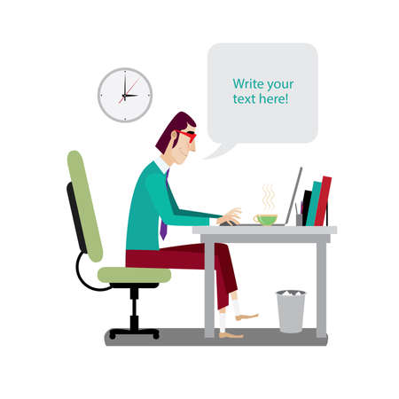day book: Vector illustration on white background featuring midday, intellectual with red glasses working at workplace with laptop and says bubble, side view