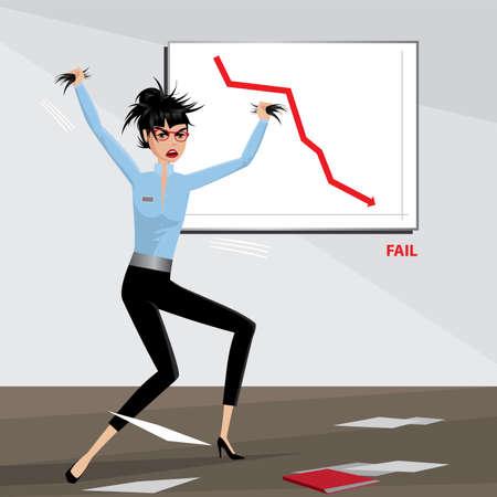 businesslike: Mujer de negocios enojada rasga su pelo | Concepto de Falla
