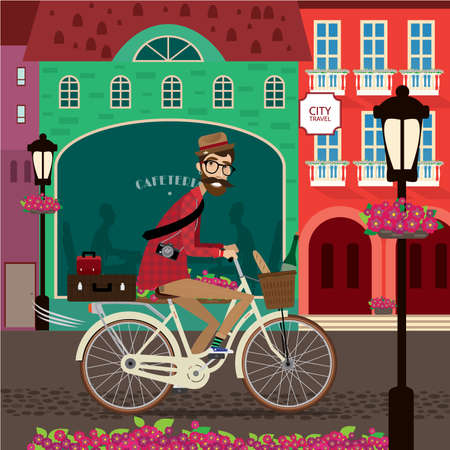 old town: Vector illustration featuring city tourer, man rides a bicycle in old town center