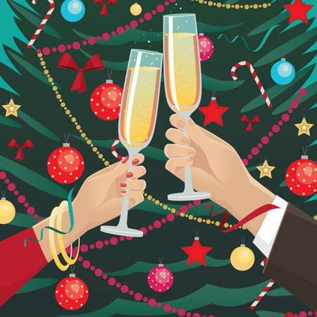 indoors: Celebrating New Year near Christmas tree indoors festively dressed couple clink glasses