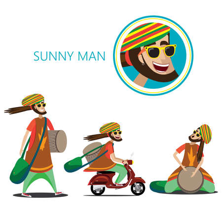 Vector illustration on white background featuring set of three rasta sunny man, walking with drum and bag, riding on a retro scooter, sitting and plays