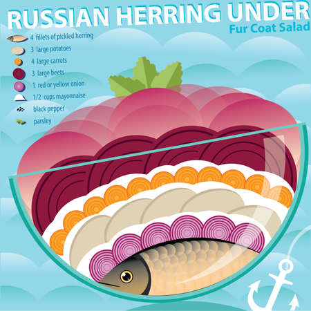 fur coat: Vector illustration on color background featuring recipe of herring under fur coat, infographics