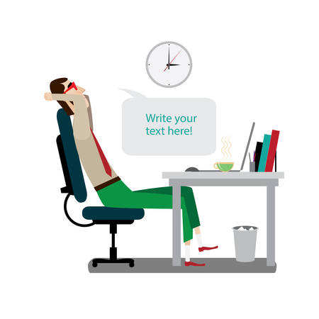 a side: Vector illustration on white background featuring midday, intellectual with red glasses rests at workplace with laptop and says bubble, side view