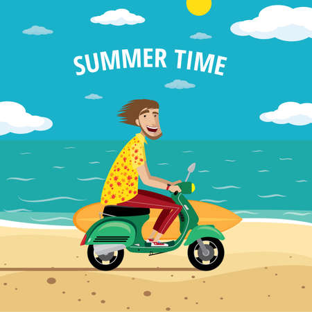 Vector illustration on color background featuring motorcyclist surfer on the retro scooter with surfboard on the beach