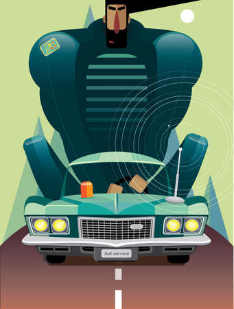 Vector illustration on white background featuring man in retro car on the road in the mountains, front view Ilustracja