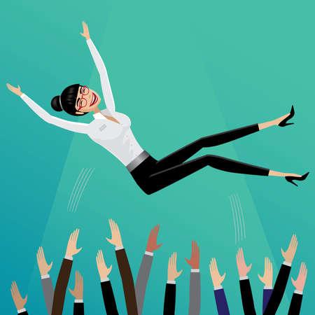 Appreciative subordinates toss up smiling business woman | Leadership concept