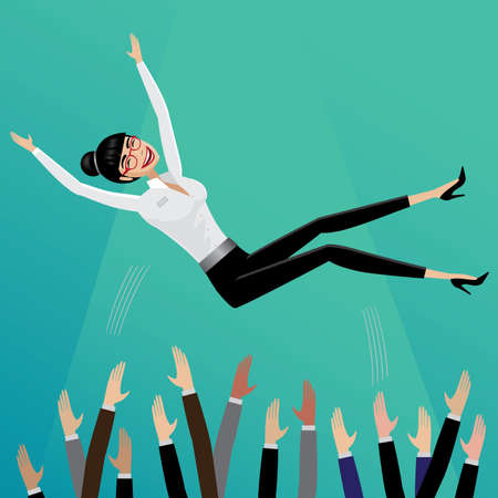 Appreciative subordinates toss up smiling business woman   Leadership concept