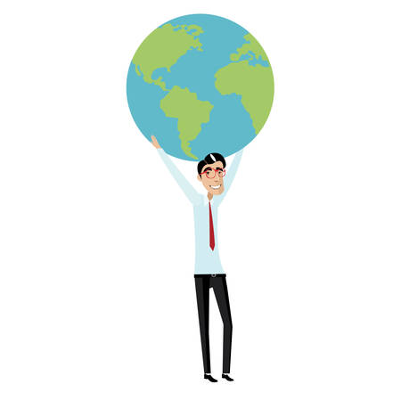 overhead: Vector illustration on white background featuring businessman with red glasses and tie holding a globe overhead Illustration