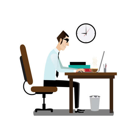 Vector illustration on white background featuring morning, office man sitting at working desk with coffee Ilustração