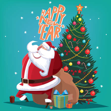 gift bag: Greeting card Happy New Year red Father Christmas with gift bag and spruce Illustration