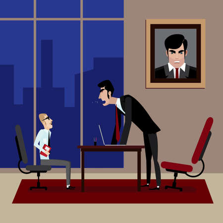 scold: Vector illustration on color background featuring boss shouting on his employee in office Illustration