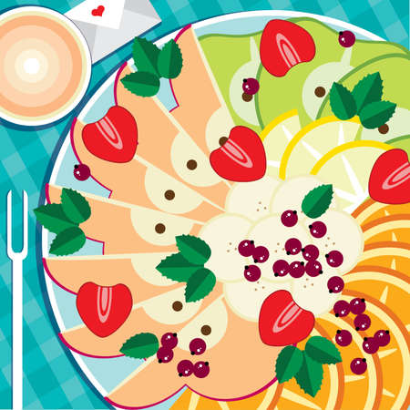 obstteller: Vector illustration on color background featuring fruit plate