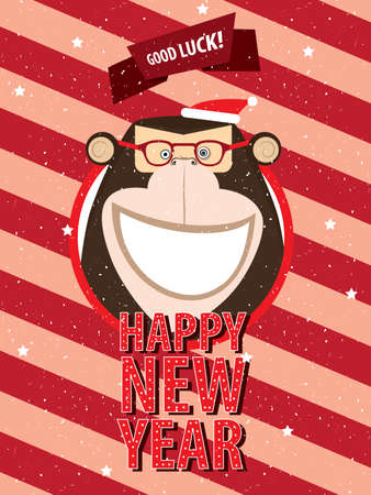 ardor: Greeting poster Happy New Year happy monkey in festive frame