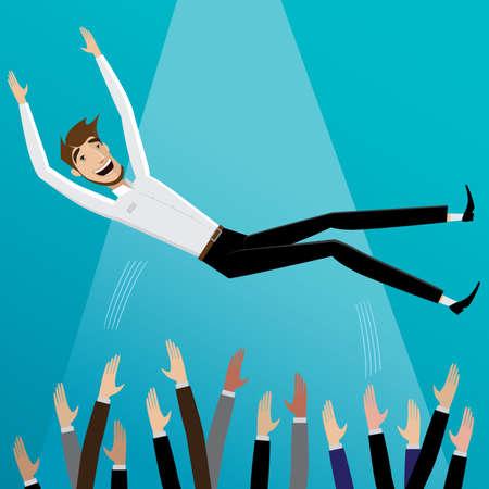 praise: Colleagues toss up happy businessman | Success concept Illustration