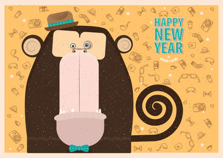 felicitation: Happy New Year greeting card with monkey for fashion people