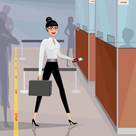 businesslike: Happy business woman pass the passport control in the airport